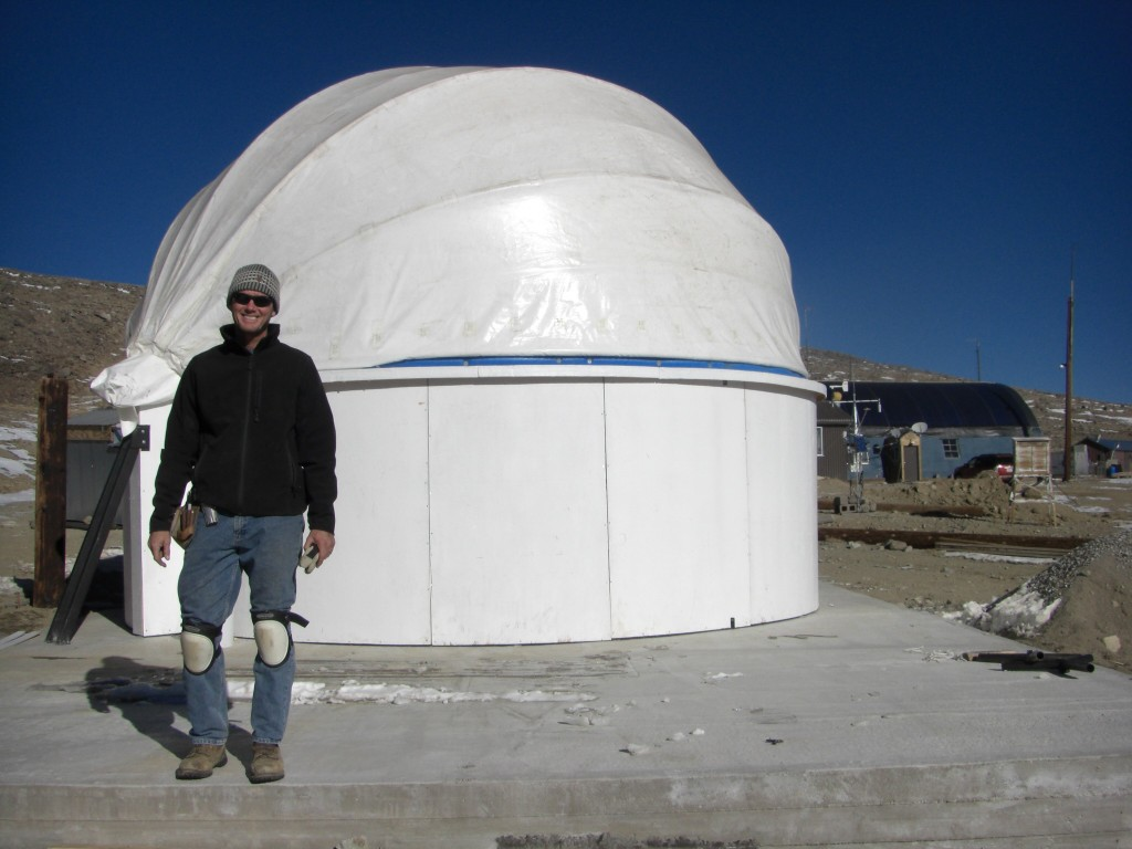 B-Machine dome closed - Andrew Riley in front